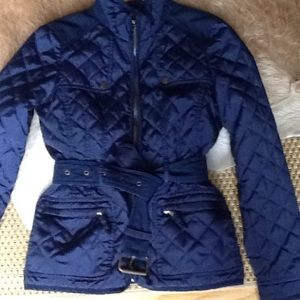 Zara navy belted quilted jacket